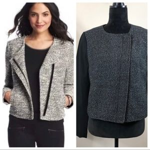 Loft Black Tweed Asymmetrical Zip Moto Jacket NWT